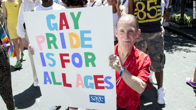 A SAGE supporter at the New York gay pride parade in June. SAGE works to improve conditions for older LGBT people.