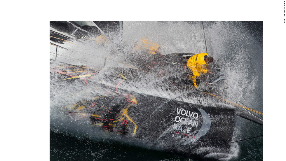 Ian Roman's dramatic image of  sailors battling the waves during the Volvo Ocean Race was awarded second place.