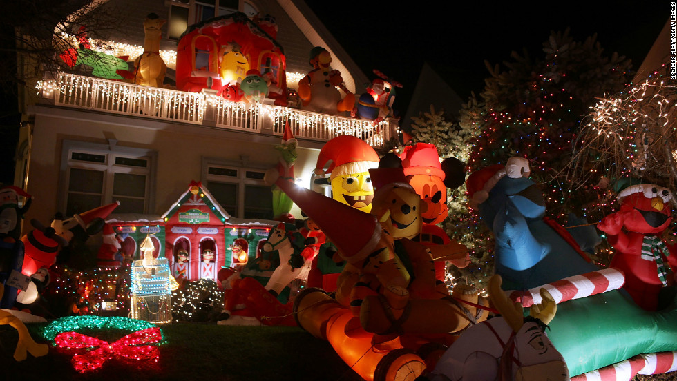 The Dyker Heights neighborhood in Brooklyn, New York is famous for its ostentatious Christmas decorations and light displays. Neighbors try and out-do each other with holiday decorations.