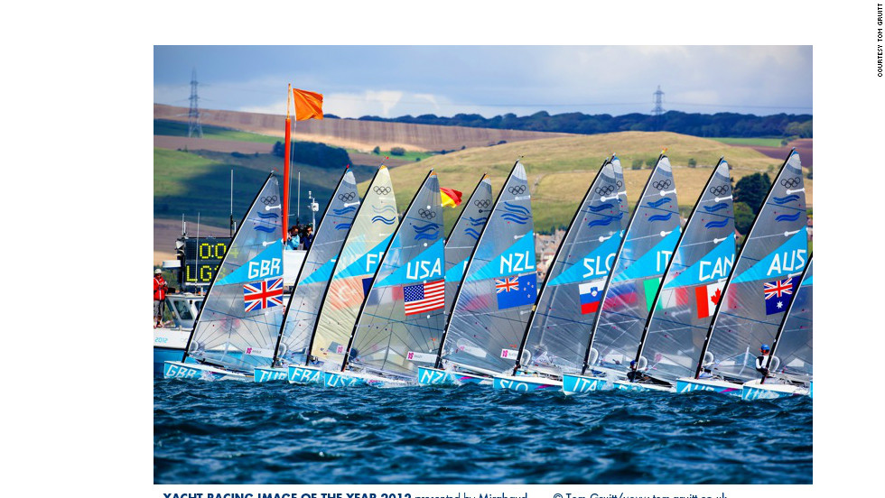 Tom Gruitt's photo of sailing competitors lining up for the 2012 London Olympics was awarded fourth place. Leading the pack was gold medalist Ben Ainslie, also one of the judges in the photography awards.