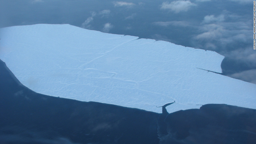 Here is one of the smaller ice islands drifting south. The largest was four times the size of Manhattan.