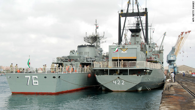 Two Iranian warships dock in the Sudanese Red Sea city of Port Sudan on Saturday.