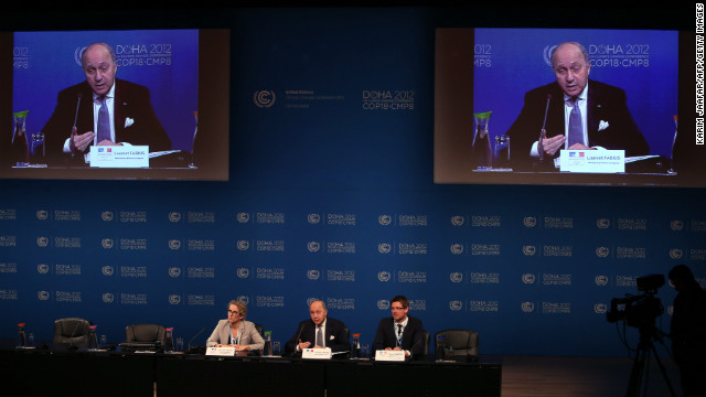 Delegates at the United Nations Framework Convention on Climate Change (UNFCCC) in the Qatari capital Doha, on December 6.