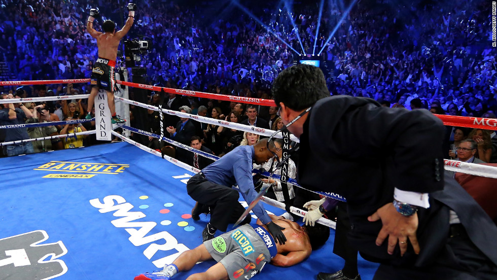 Marquez knocked out Pacquiao in the sixth round Saturday night in Las Vegas. Pacquiao lay motionless for a while, before eventually sitting up. With the technical knockout, Marquez was declared the winner.