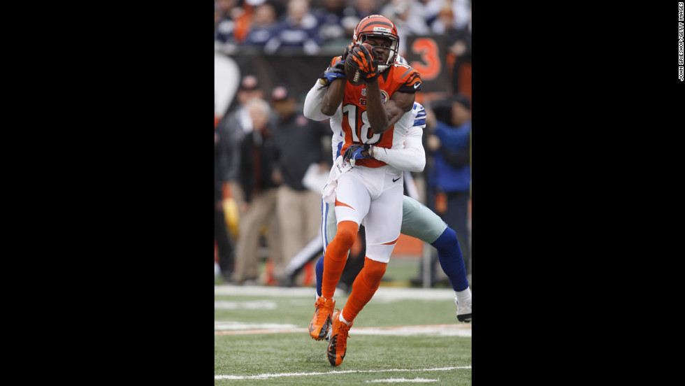 Bengals wide receiver  A.J. Green runs against the Cowboys on Sunday.