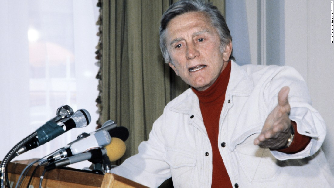 Douglas address a press conference in 1980 at the Cannes Film Festival, where he was president of the jury.