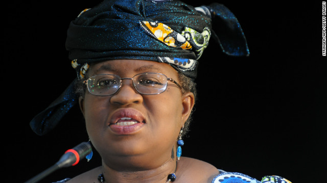 Nigeria's finance minister Ngozi Okonjo-Iweala addresses the media on March 23, 2012 in Pretoria, South Africa. Okonjo-Iweala joined on March 23 the race for the top World Bank job, backed by Africa's leading economies in a push for greater influence at global financial bodies dominated by rich nations. Ngozi Okonjo-Iweala, flanked by counterparts from South Africa and Angola, unveiled her candidacy at a press conference in Pretoria, putting the weight of Africa's biggest economy and its two biggest oil producers behind her bid. AFP PHOTO / STR (Photo credit should read STRINGER/AFP/Getty Images)