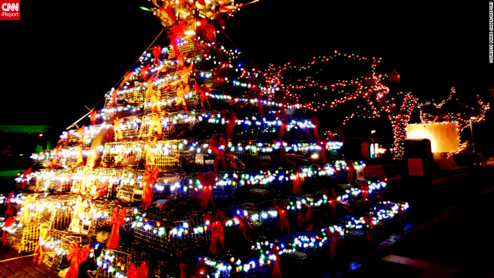 """This was the most unusual tree I had ever seen,"" said iReporter, <a href=""http://ireport.cnn.com/people/MarieSager"">Marie Sager</a>, who shot this impressive image of creative festive decorations in Provincetown, Massachusetts. ""It was built with lobster cages, decorated with plastic ... seashells and topped with nautical items. Perfect for a town by the sea."""