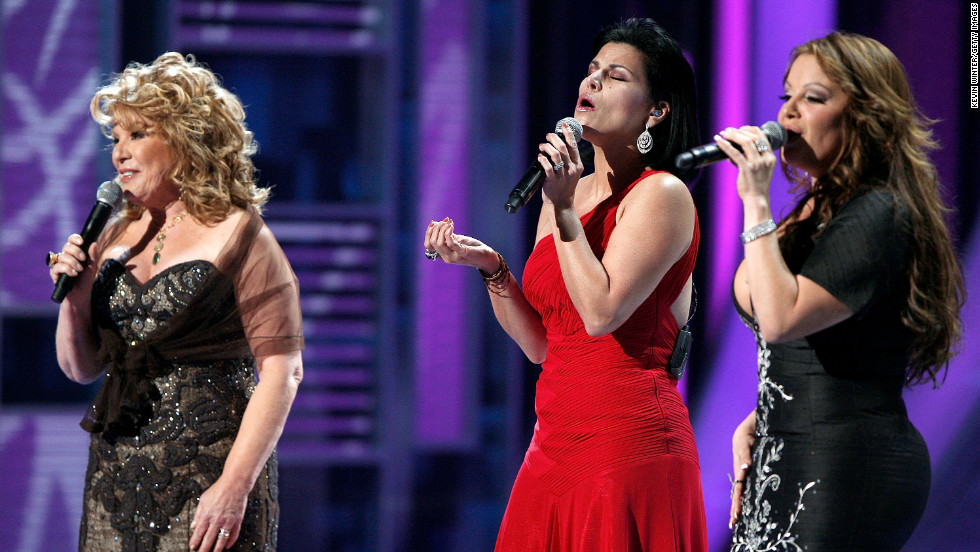 Rivera, right, joins singers Vikki Carr, left, and Olga Tanon during the ninth annual Latin Grammy Awards in November 2008 in Houston.