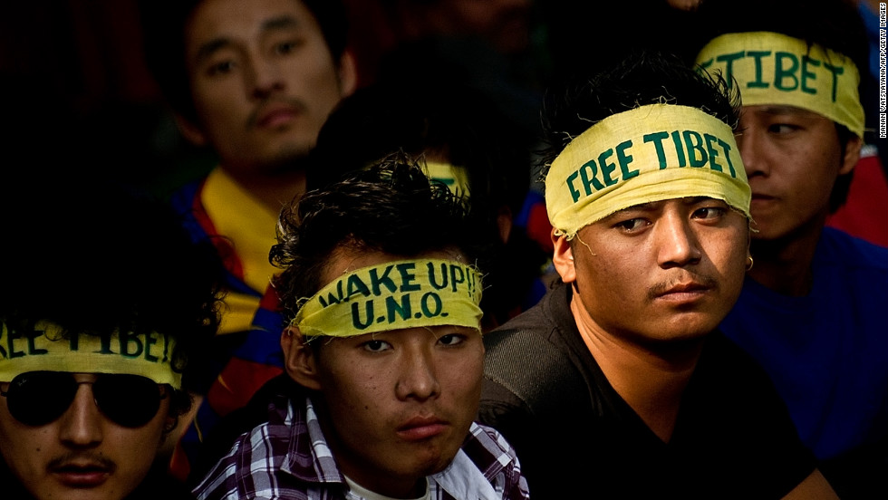 Tibetan activists in exile take part in a protest in New Delhi to mark Human Rights Day on December 10.