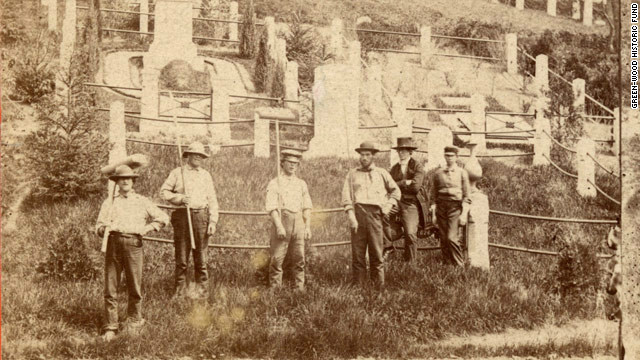 A Green-Wood grounds crew poses for a photo circa 1870.