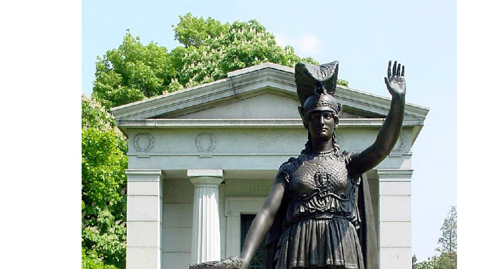 The American Revolution's Battle of Brooklyn was fought on the cemetery's grounds on August 27, 1776.  While many soldiers were buried where they fell, there are no revolutionary war-era graves in Green-Wood. This statue of the Roman goddess Minerva commemmorates the Battle of Brooklyn.  Unveiled in 1920, it has a direct line of sight to the Statue of Liberty.  In fact, the two statues are said to be saluting each other.