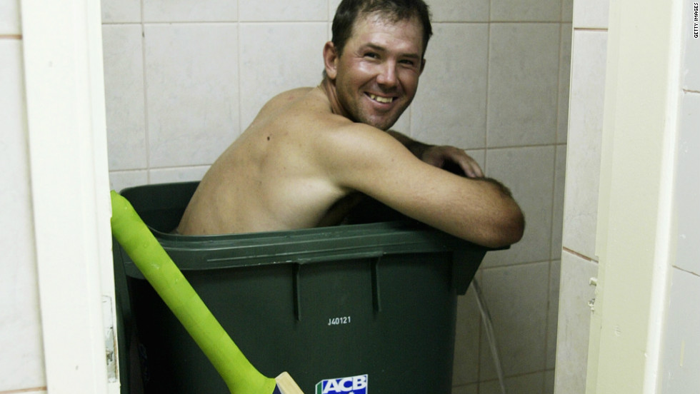 Ricky Ponting of Australia cools off after making 142 unbeaten runs during a 2002 Test in Pakistan.