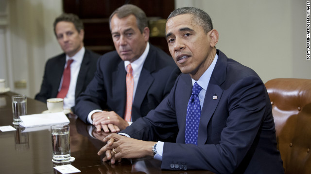 US President Barack Obama speaks before Speaker John Boehner (R-OH) Secretary of the Treasury Timothy Geithner (3rdR) and other cabinet members during a meeting on November 16, 2012 in Washington,DC. Obama said Friday that Democrats and Republicans needed to make 'tough compromises' in order to overcome divisions over deficit reduction and avoid the fiscal cliff. AFP PHOTO/TOBY JORRIN (Photo credit should read TOBY JORRIN/AFP/Getty Images)