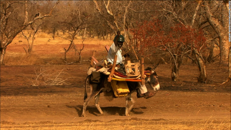 This scene from the film shows a man who Nyange says had been traveling on a donkey for eight days when he met her film crew. He was making his way to the Yida refugee camp.