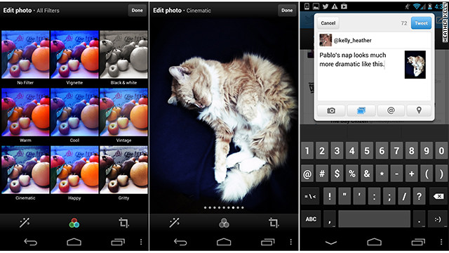 Twitter has added new editing and photo-filter options to its Android and iOS apps.