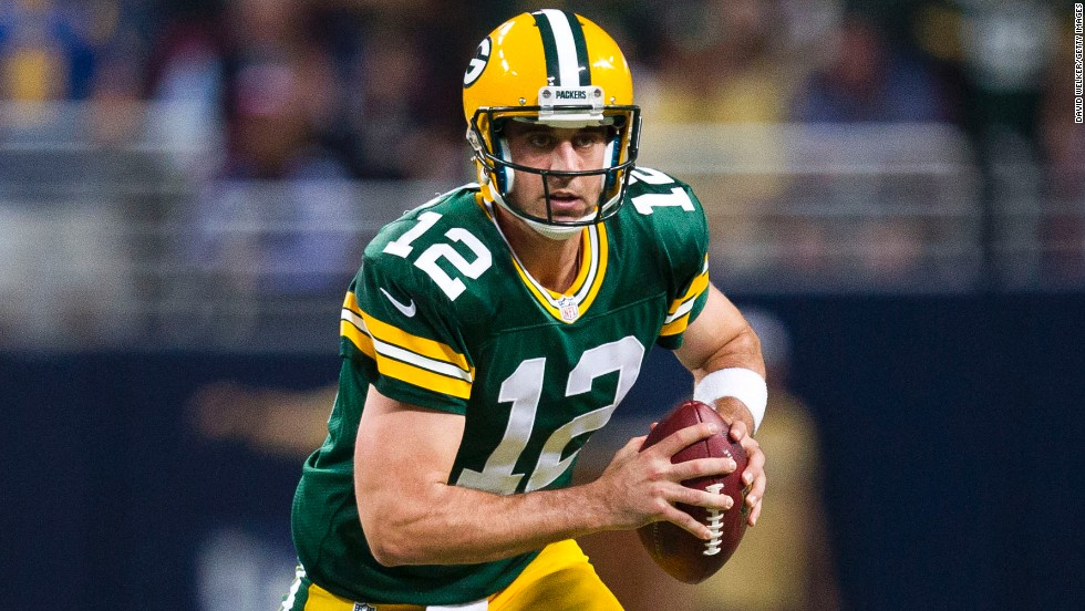 After playing backup to one of the best ever, Brett Favre, Aaron Rodgers quickly helped Green Bay fans forget about their longtime idol. In just eight seasons on the Frozen Tundra, the University of California grad has completed almost 66% of his passes for 20,663 yards and 161 touchdowns, a dozen shy of Joe Namath's career mark. A two-time Pro Bowler with almost four times as many touchdowns as interceptions, Rodgers was also named MVP of Super Bowl XLV, which the Packers won over the Pittsburgh Steelers.