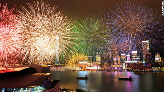 Firework's light up Hong Kong's Victoria Harbour.