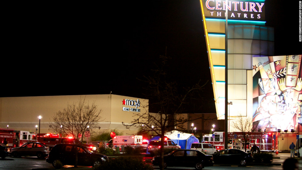 Emergency vehicles gather outside the mall after a gunman opened fire, killing two people on Tuesday, December 11.