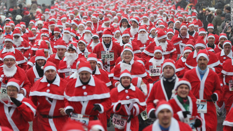 Participants take off in the 4th annual Michendorf Santa Run on December 9 in Michendorf, Germany.