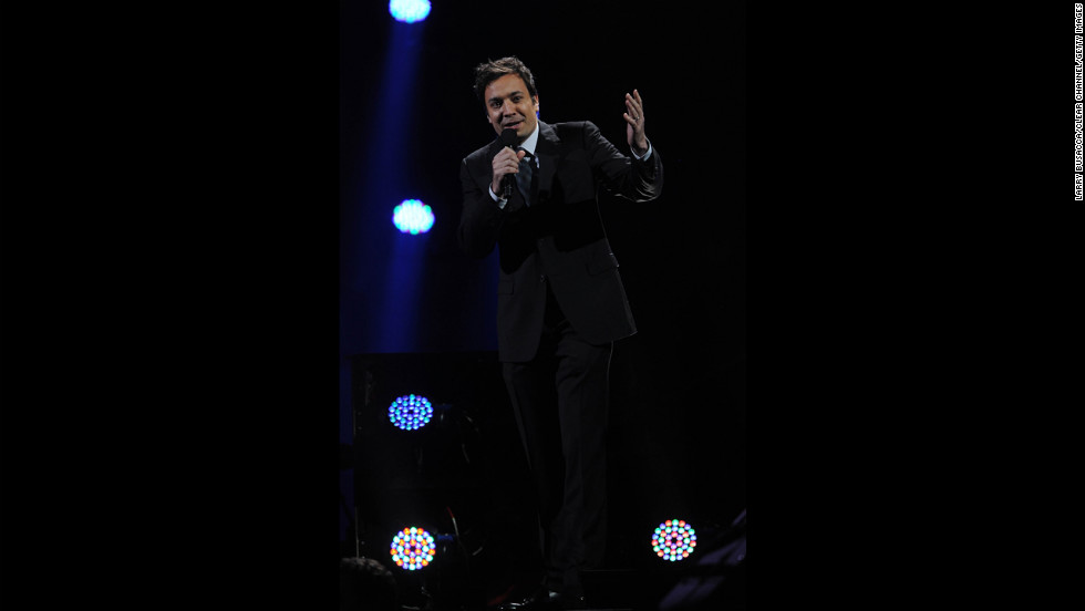 "Jimmy Fallon speaks to the crowd on Wednesday. ""The response from the entertainment community to help those most affected by Sandy has been nothing short of astounding,"" the producers said in a statement."