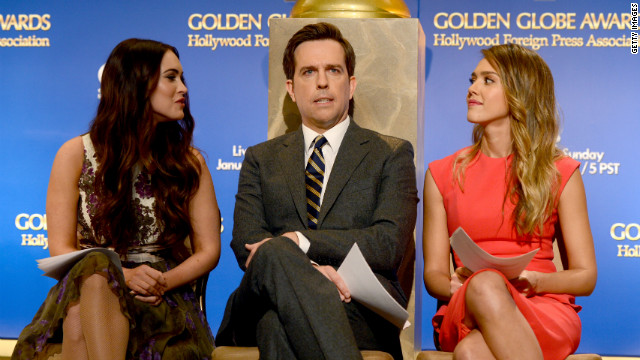 LOS ANGELES, CA - DECEMBER 13: (L-R) Actors Megan Fox, Ed Helms, and Jessica Alba onstage during the 70th Annual Golden Globes Awards Nominations at the Beverly Hilton Hotel on December 13, 2012 in Los Angeles, California.