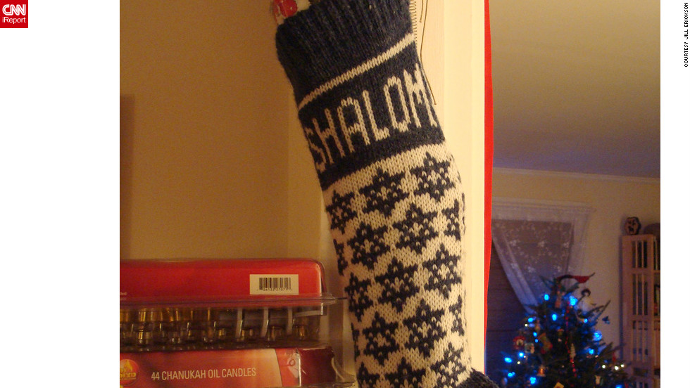"One of Erickson's favorite Chrismukkah decorations is a Shalom stocking adorned with jingle bells. ""We try to have a good sense of humor about the whole blending thing,"" she said."