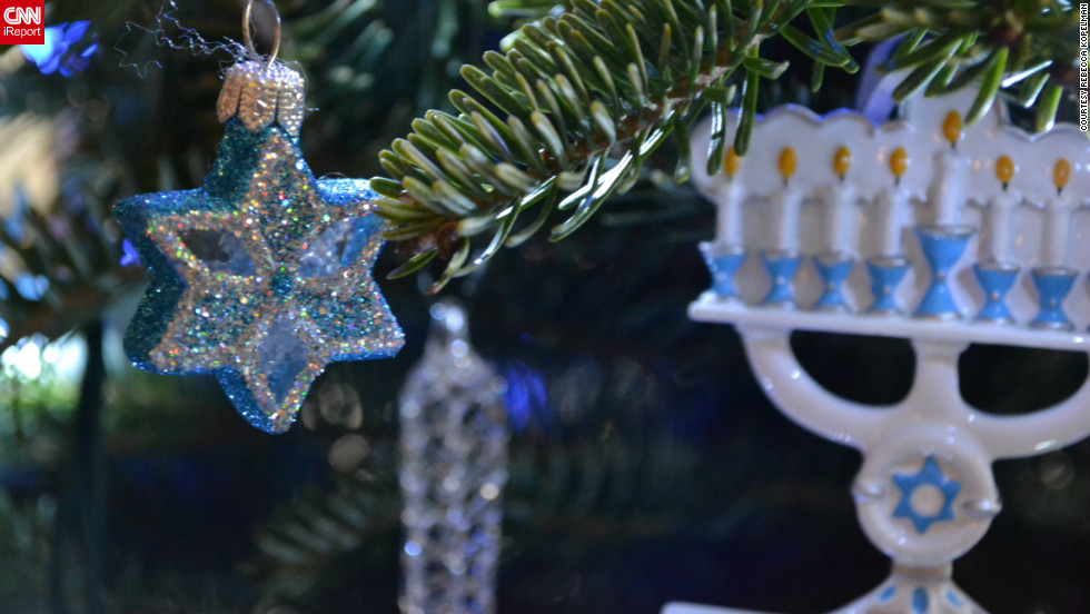 "Back in 2006, when the Kopelmans got married, they bought their first Chrismukkah tree. ""I was so excited to get our own Christmas tree, but wanted a way for my husband to be excited about it too ... thus the blue and white lights and more ornaments for him,"" she said."