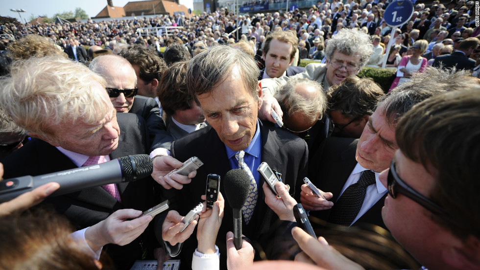 "A media scrum surrounds Frankel's trainer, Henry Cecil. The celebrity racing figure is ""hugely loved"" by the public, according Bazalgette."