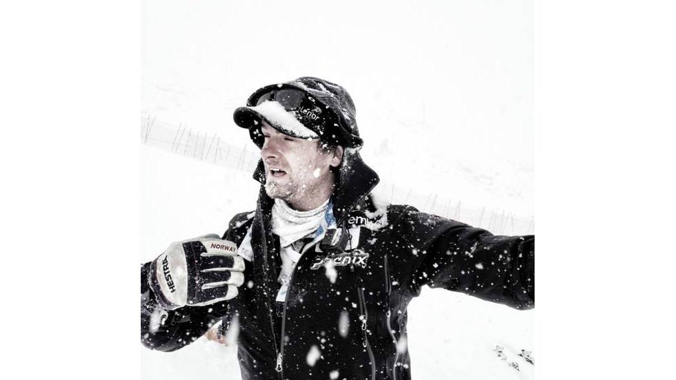 Norwegian ski coach Haavard Lie battles the elements during national team training in Solden.