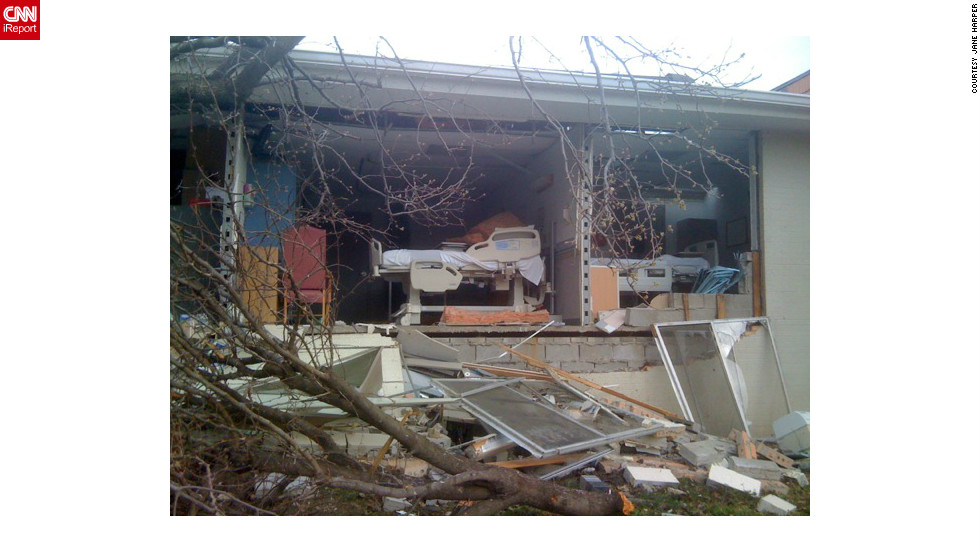 "Hospital rooms were completely destroyed after a <a href=""http://ireport.cnn.com/docs/DOC-755579"">tornado</a> hit Harrisburg, Illinois in February. Jane Harper, a nurse there, took this photo after moving patients out of harm's way. She went to check one of the patient rooms, and found that the room was no longer there."