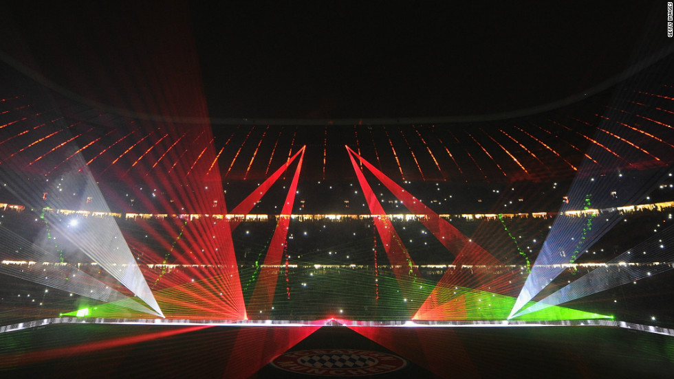 The Allianz Arena was lit up with a laser show to farewell the players, who will start a four-week break after Tuesday's German Cup game at Augsburg.