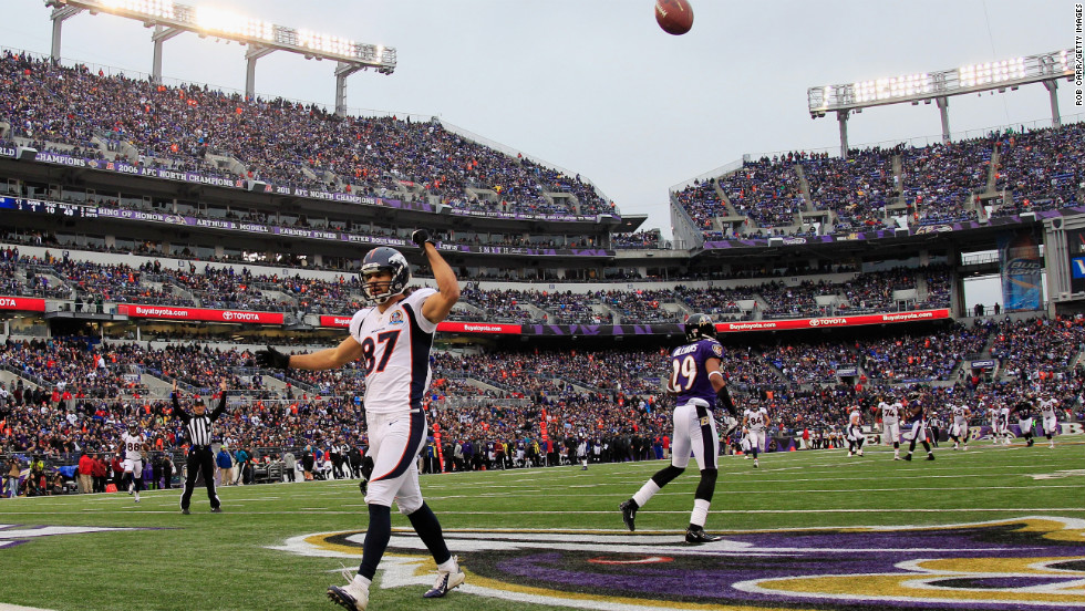 Wide receiver Eric Decker of the Broncos celebrates after catching a third quarter touchdown pass against the Ravens on Sunday.