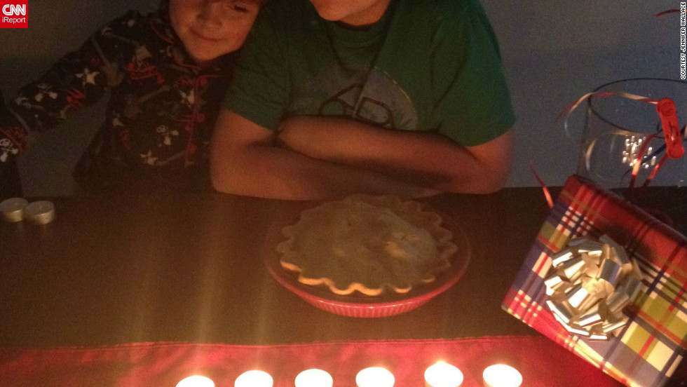 Jennifer Wallace's son replaced his 12 birthday candles with 27 tea lights in honor of those lost in Newtown.