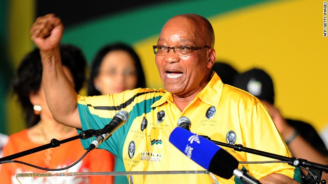 South African President Jacob Zuma at the ANC Conference on December 16, 2012, in Bloemfontein.