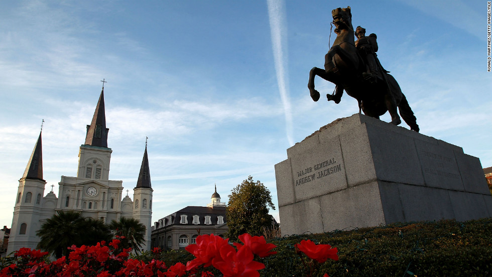 The original town of La Nouvelle-Orléans developed around what is now known as Jackson Square.