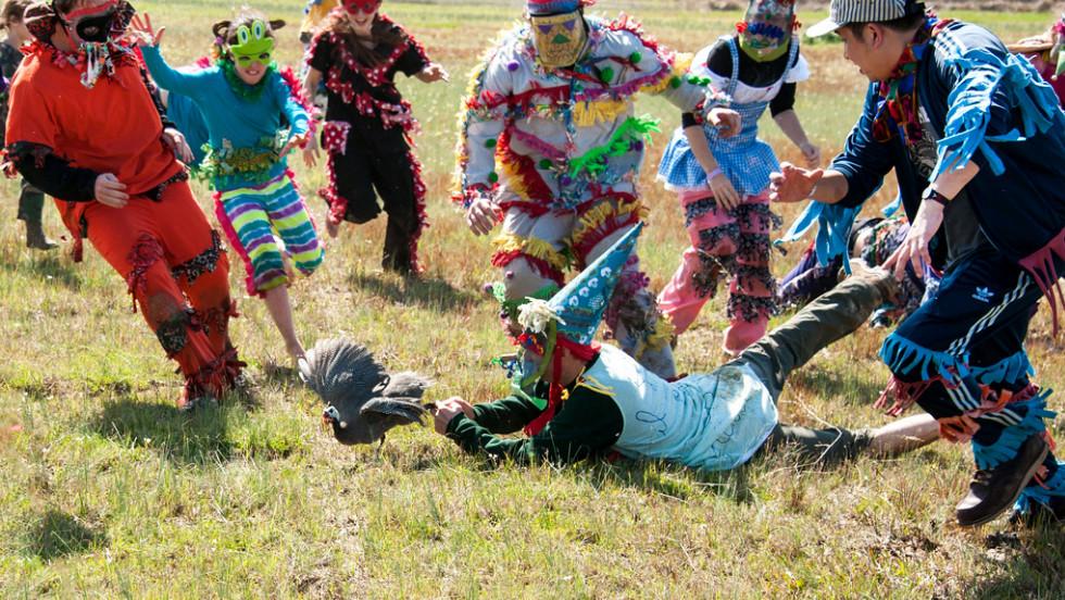 Faquetigue Courir de Mardi Gras is a traditional Mardi Gras celebration held near Savoy, Louisiana, that involves chasing chickens.