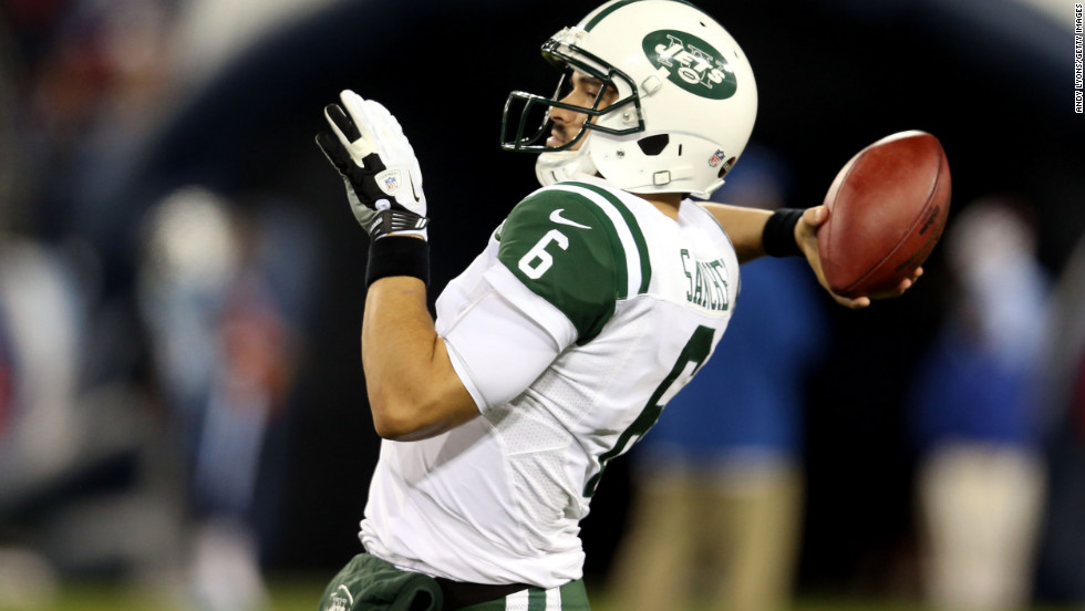 Jets quarterback Mark Sanchez warms up prior to the game against the Titans on Monday.
