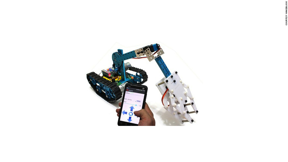 Makeblock founder Jasen Wang always dreamed of making robotics accessible to normal people. This robot can be remotely controlled with a smartphone via bluetooth.