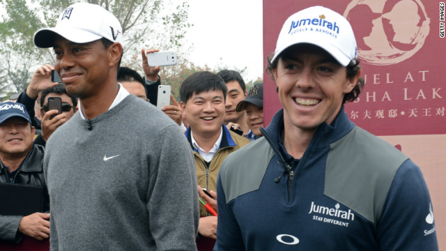 Tiger Woods is a 14-time major winner, while McIlroy became golf's youngest double major champion this year.