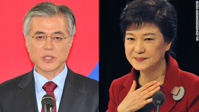 The candidates, Moon Jae-in and Park Geun-hye are in a race to be South Korea's next president.