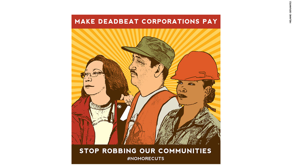 "A partial view of ""Make Deadbeat Corporations Pay. Stop Robbing Our Communities,"" by Melanie Cervantes"