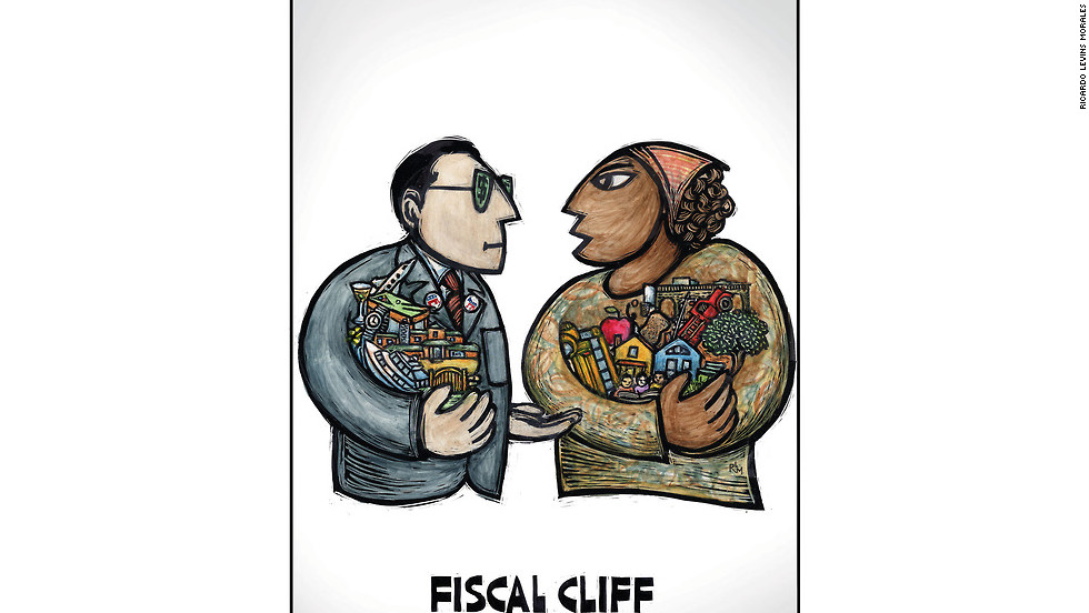 """Fiscal Cliff 101,"" by Ricardo Levins Morales"