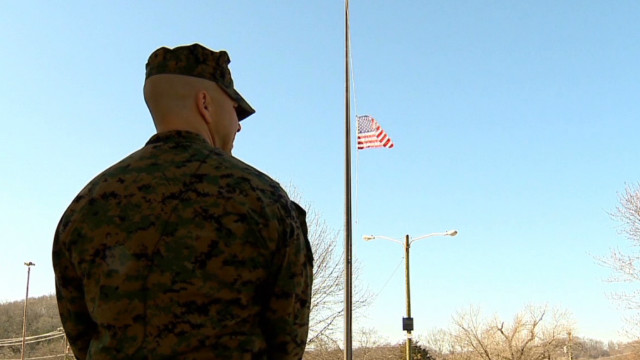 Dad, Marine stands guard at school