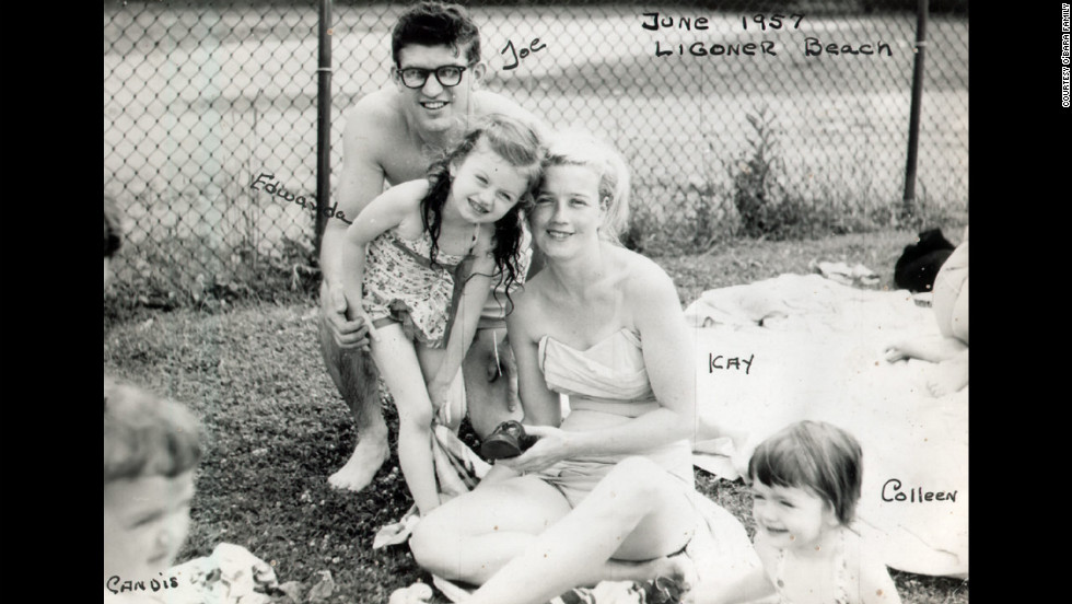 "The O'Bara family in June 1957 at Ligonier Beach, Pennsylvania. Mother and daughter were close; shortly before she fell into a coma, Edwarda asked her mother, ""Don't ever leave me."" Her mother promised she never would."