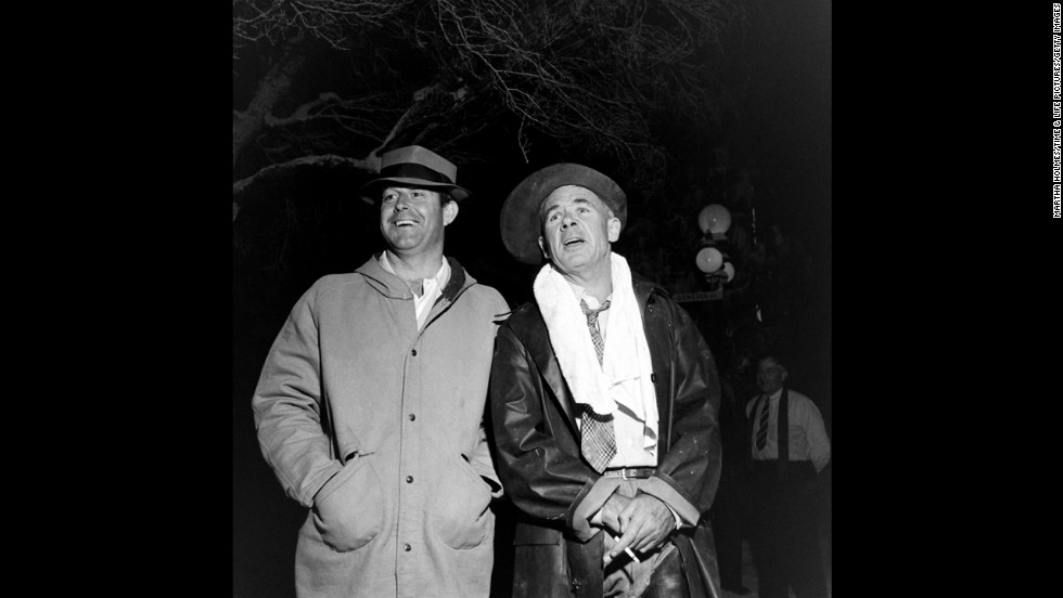 Director Frank Capra, right, stands with an unidentified man on the set.