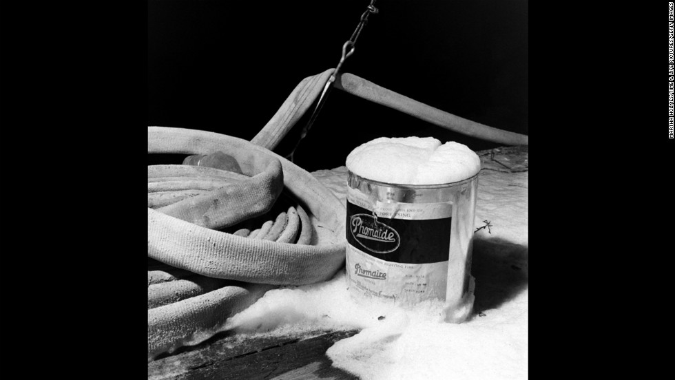 A can of fake snow sits on the set.