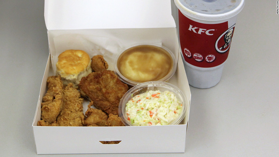 <strong>KFC's Variety Big Box Meal:</strong> KFC provides nutritional information for individual items. We figure this meal -- a drumstick, a Crispy Strip, an individual box of Popcorn Chicken, two Homestyle sides (we chose mashed potatoes with gravy and cole slaw), a biscuit and a 32-oz. drink (Pepsi) -- blasts the daily sodium maximum, with more than 3,000 milligrams of salt and more than 1,400 calories. <strong>Choose this instead:</strong> The Honey BBQ Snacker with a large corn on the cob, House Side Salad with buttermilk dressing and a 16-ounce Lipton Brisk Lemon Tea. This meal has less than quarter of the sodium (725 mg) and 505 calories. Kleiner's tip: Do dressing on the side. Dip your fork in it to get the taste of it without all the sodium.