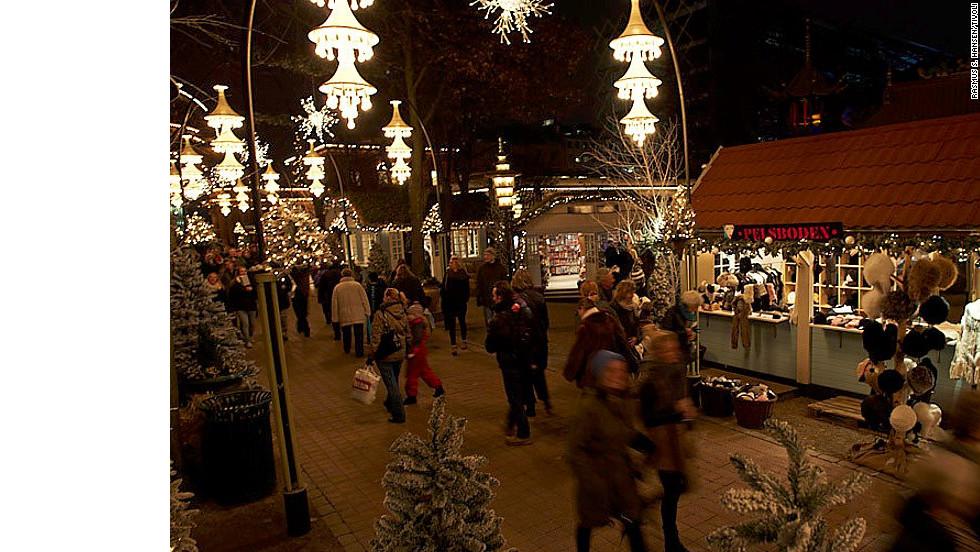 Classic amusement park Tivoli Gardens puts on a festive market in Copenhagen.