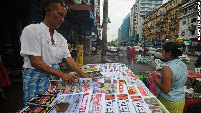 Previously banned newspapers and magazines are now freely available in Myanmar's towns and cities.